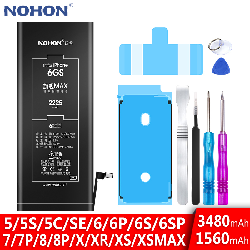 Bateria Nohon-Battery iPhone6s Apple Max-Replacement XR 8-Plus SE for 5C 5S XS 7