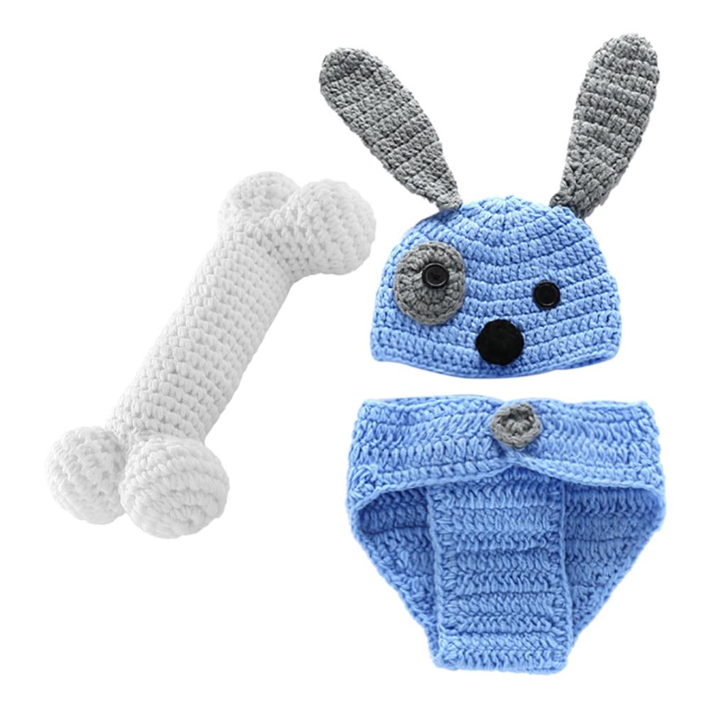 Puppy Blue Suit + Bones Handmade Wool Newborn Baby Suit Puppy Beige Hundred Days Photography Suit
