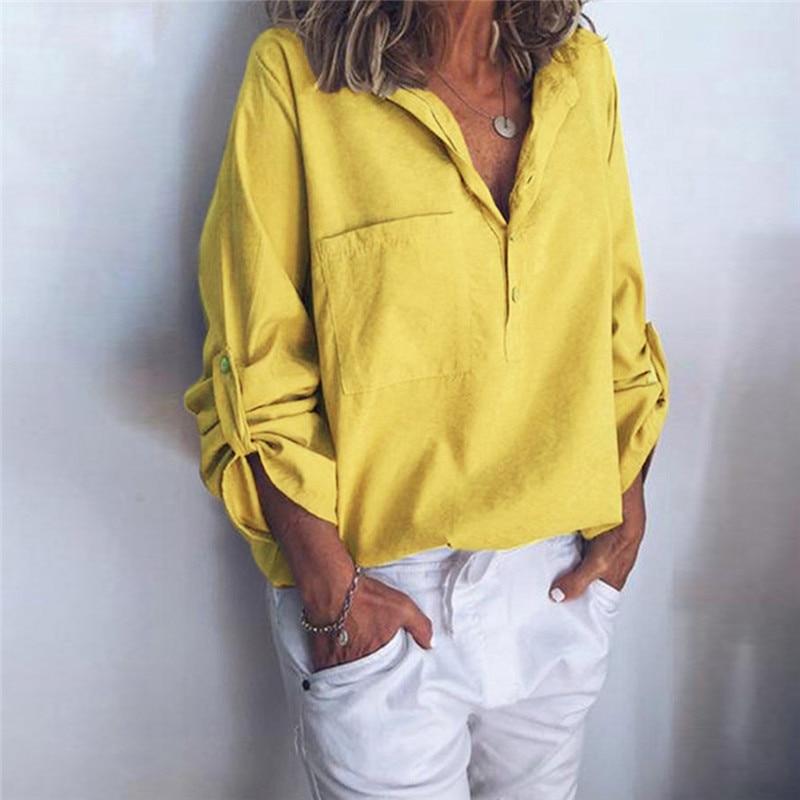 Осень 2020, рубашка на пуговицах с длинным рукавом, повседневные топы и блузки, женские одноцветные блузки, Blusas Mujer De Moda, модные, размера плюс