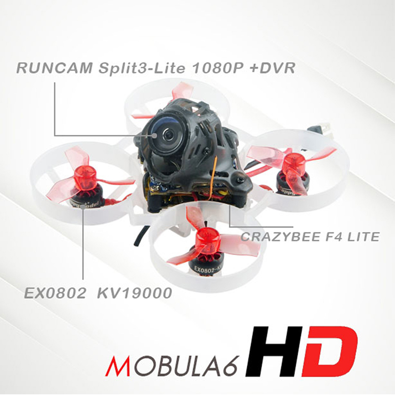 Happymodel Mobula6 HD 1S 65mm Brushless Bwhoop Mobula 6 HD FPV Drone BNF w/ AIO <font><b>4IN1</b></font> Crazybee F4 Lite Runcam Split3-lite Camera image