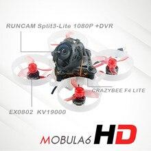 Happymodelo mobula6 hd mobula 6 1s 65mm, drone de corrida sem escova bwhoop fpv com 4 em 1 crazybee f4 lite runcam nano3 câmera rc drone