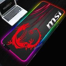 لوحة ماوس MSI من MRGBEST بمصابيح LED RGB مقاس كبير XXL لوحة ألعاب مطاطية مضادة للانزلاق لوحة ألعاب للكمبيوتر المحمول والكمبيوتر المحمول
