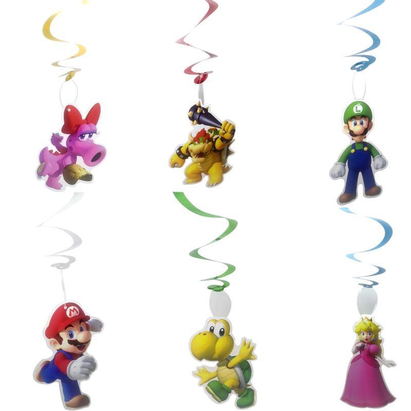 6 шт./лот Super Mario тема украшения потолка висит вихрем С Днем Рождения вечерние гирлянды вечерние поставки DIY Baby Shower завитки