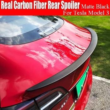 Car Spoiler Carbon Fiber Rear Spoilers Roof Wings For Tesla Model 3 4D Sedan Trunk Lip Tail Body Trim Auto Accessories