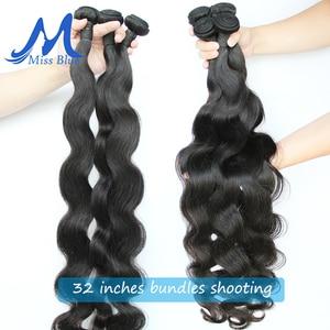 Image 2 - Missblue Peruvian Body Wave Hair Weave Bundles 100% Human Hair Bundles 30 32 34 36 38 40 Inch Natural Color Remy Hair Extensions