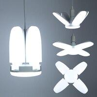 E27 bombilla LED, bombillas plegables de hoja de ventilador, 30W/45W/60W, luces colgantes LED blancas frías, lámparas de techo de 220V para sala de estar, luz de garaje