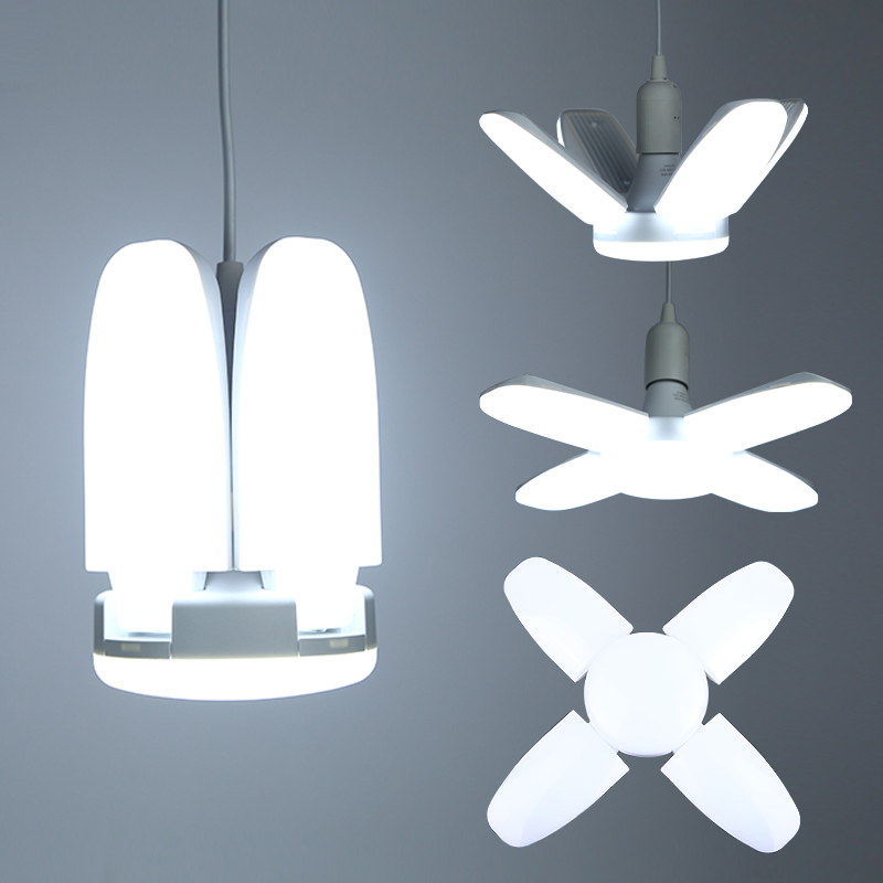 LED Bulb E27 Foldable Fan Blade Bulbs 30W/45W/60W Cold White LED Pendant Lights 220V Ceiling Lamps For Living Room Garage Light