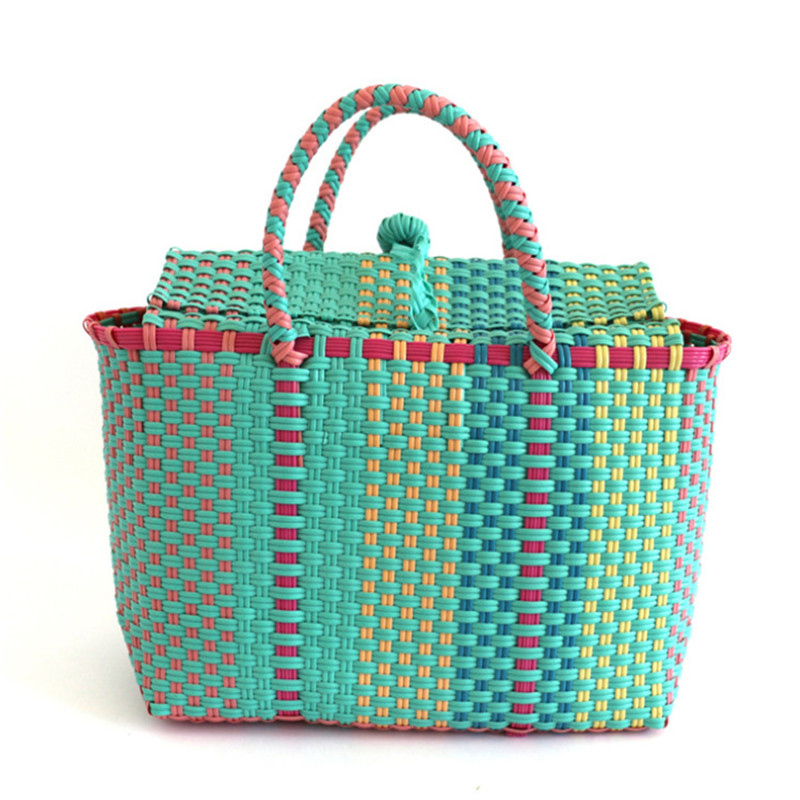 Women Durable Weave Beach Bag Woven Bucket Bag Casual Tote Handbags Bags Popular Receive Straw Plastic Braided Basket