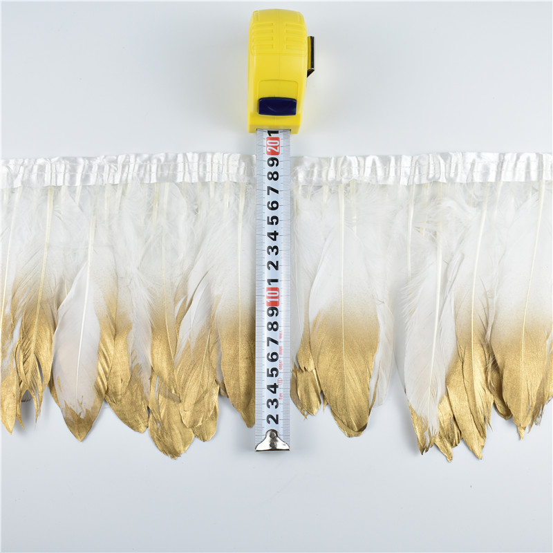 Wholesale 2Yards/Lot Dipped Gold Goose Feathers Trims White Geese Feather for Crafts Fringes Ribbons Clothing Width Plumas Plume
