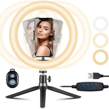 Selfie-Ring-Light Makeup Beauty-Supplement Adjustable with Tripod Led10-Vedio Youtube