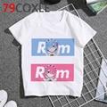 Детская футболка для девочек и подростков, милый рисунок re zero kara hajimeru isekai seikatsu, летние детские топы с рисунком аниме