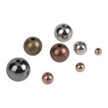 Perles rondes amples à bout lisse pour la fabrication de bijoux, 30 à 500 pièces/lot, 3, 4, 5, 6, 8, 10mm