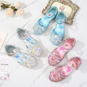 Image 4 - Prinses Kinderen Leren Schoenen Voor Meisjes Casual Glitter Kinderen Lage Hak Meisjes Schoenen Blauw Roze Zilver Elsa Party Schoen