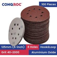 100 חתיכות 125mm 5 אינץ 8 חורי חול ניירות מלטש דיסקים Hook ולולאה חצץ 40 ~ 2000 נגרות שוחקים ניירות