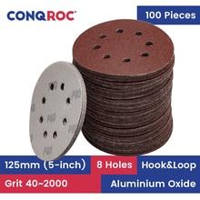100 pezzi 125mm 5 pollici 8 fori carte Abrasive dischi abrasivi grana a strappo 40 ~ 2000 carte Abrasive per la lavorazione del legno