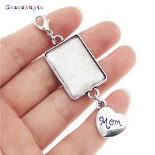 GraceAngie 1set Antique Silver Wedding Bouquet Photo Charm Memorial Dad Father Mom Heart Bridal Pendants DIY Accessory
