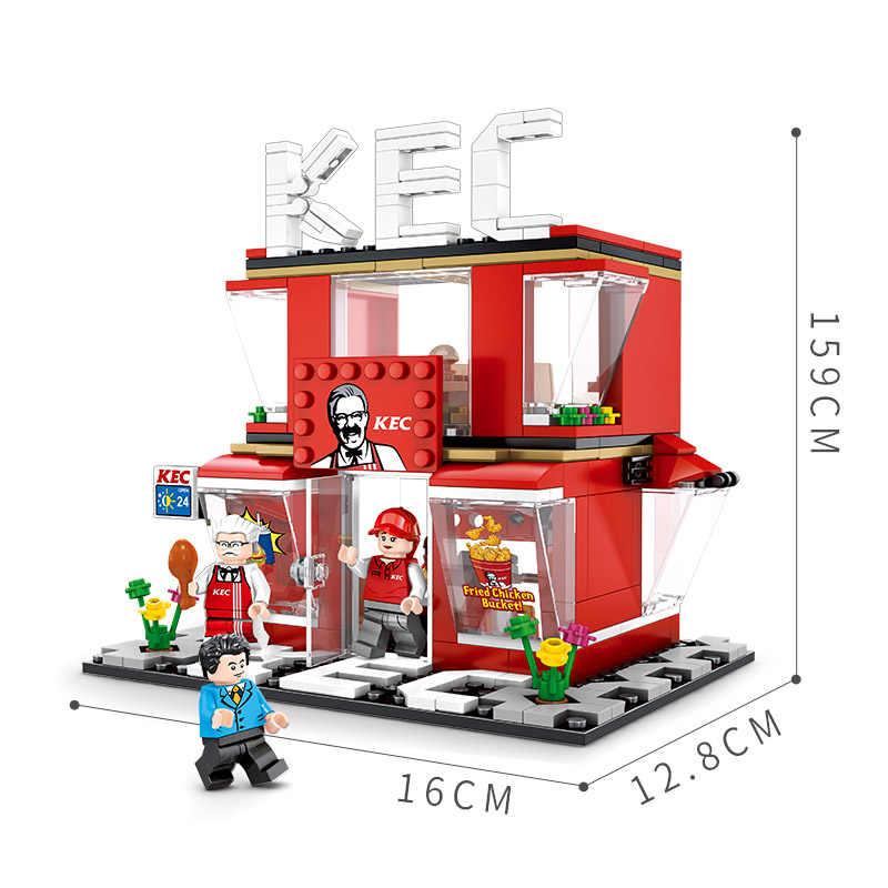 Sembo City Street View McDonalding Кофейня строительный блок гамбургер Совместимость Legoed архитектура кирпичные игрушки