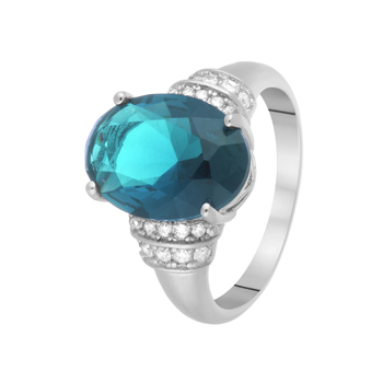 Кольцо из серебра с ситаллом и фианитами R00659