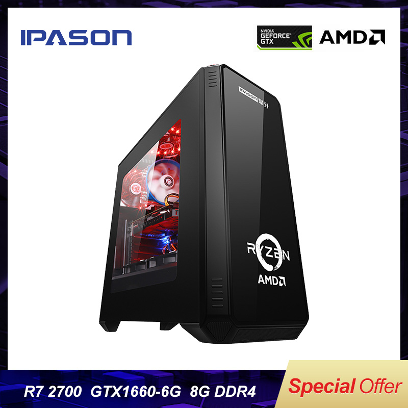Gaming Computer PC IPASON 8-core AMD R7 2700/GTX1660 6G/B450M/DDR4 8G 240G M.2 SSD/8G PUBG Game Desktop/assembly Gaming PC