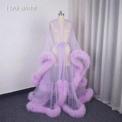 Marabou Robe Extra bouffante plume Robe longue Tulle Illusion pure Robe de fourrure