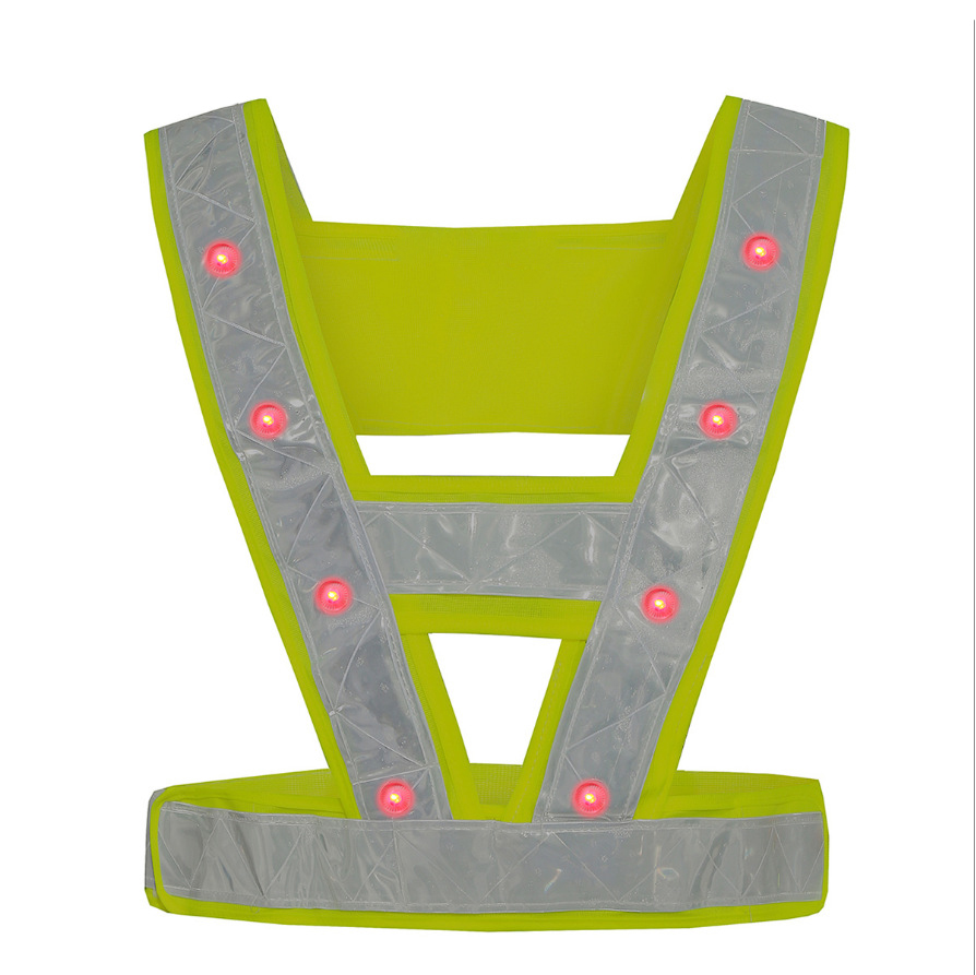 16pcs LED Reflective Strap Vest Night Warning Vest Cycling Working Outdoor Safety Clothes Shining Safety Vest