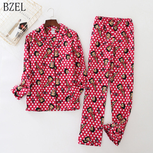 BZEL 2 sztuk zestawy piżam bawełnianych Cute Cartoon dziewczyna domu piżamy kobiety Plus rozmiar bielizna nocna w nowym stylu Pijamas Femme Homewear Mujer