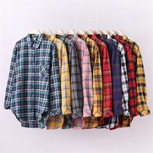 Fashion Retro Plaid Women Blouse Full Sleeve Turn-down Collar Autumn Shirt Plus Size Loose Casual Long Blusas Office Ladies Tops cotton long shirt fashion plaid turn down collar full sleeve office lady autumn women blouse plus size casual blusas student top