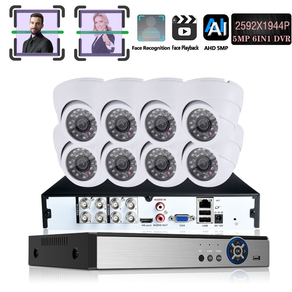 8CH 5MP 6-in-1 CVBS AHD CVI XVI TVI IP Video Security System CCTV DVR Face record Weatherproof Surveillance Security Camera