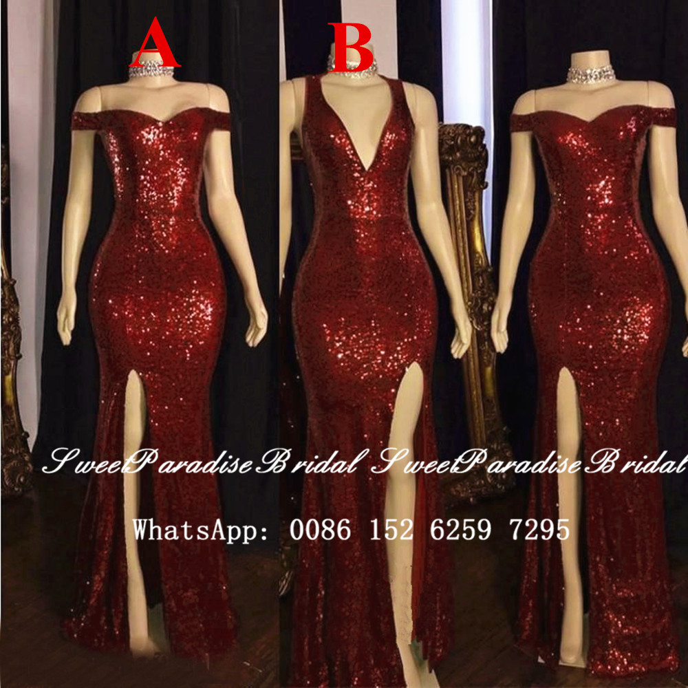 Sparkly Burgundy Sequined Bridesmaid Dresses Mermaid 2020 Sied Split Women Long Wedding Party Dress Vestidos Fiesta Boda