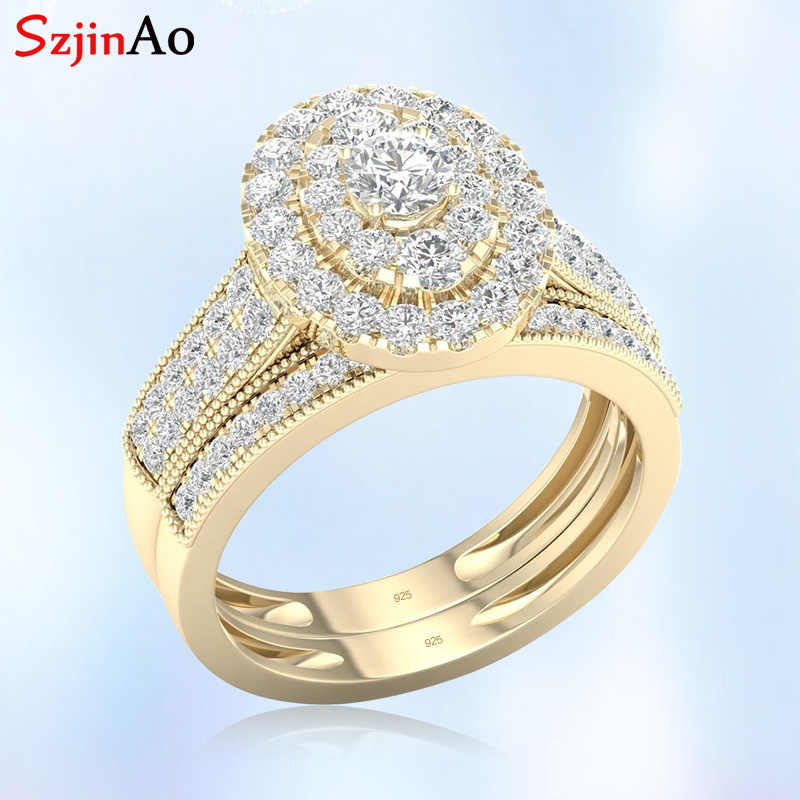 Szjinao 14k Yellow Gold Gemstone Rings Double 925 Silver 2 Ring Diamond Bridal Luxury Jewelry Woman Wedding Anniversary Gifts