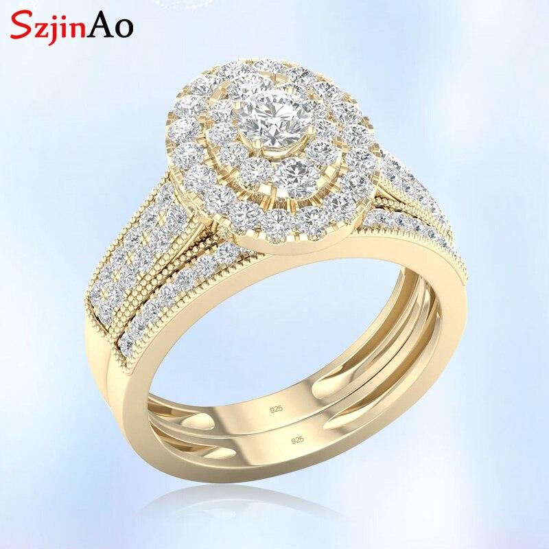 Szjinao 14k or jaune pierres précieuses anneaux Double 925 argent 2 bague diamant mariée luxe bijoux femme mariage anniversaire cadeaux