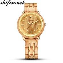 цена на Shifenmei S5503 female quartz watch simple woman's wooden quartz watch lady's gift souvenir luxury quartz watch
