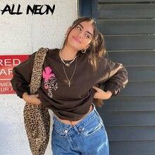 ALLNeon anni '90 estetica stampa leopardata top marrone oversize Y2K felpe a maniche lunghe girocollo Vintage abiti Indie Streetwear
