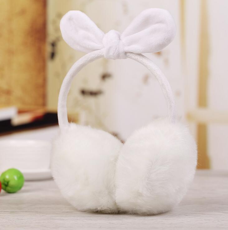 New Cute Rabbit Ears Bow Earmuffs Women's Winter Rabbit Hair Like Super Large Ear Warm Earmuffs