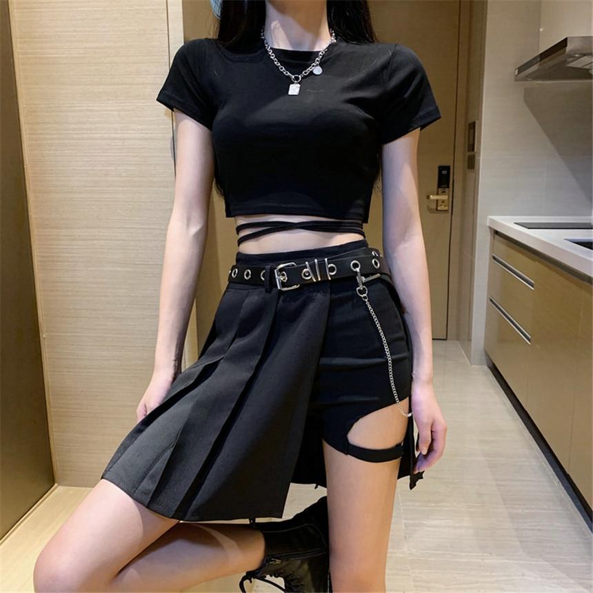Harajuku Punk Style Plaid Skirts Women Asymmetrical High Waist Pleated Skirts