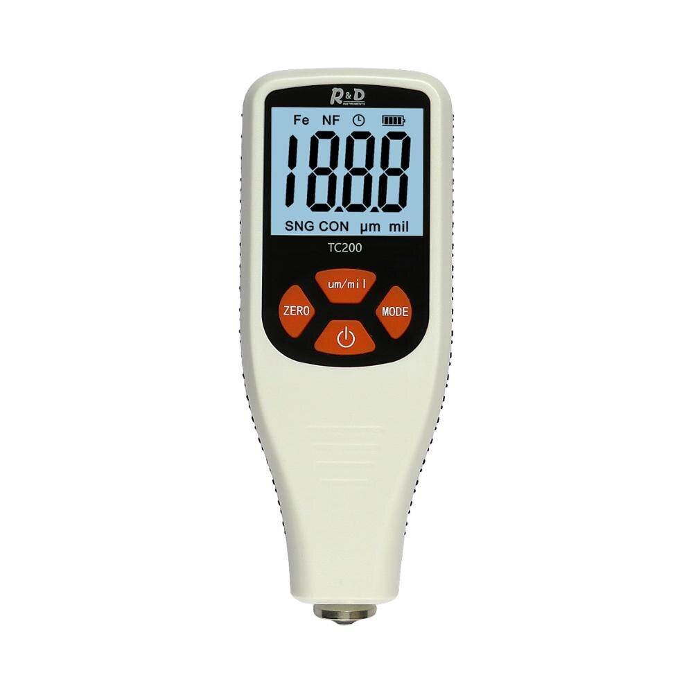 R& D TC200 толщиномер покрытия 0.1um/0-1500 тестер толщины автомобильной краски для измерения FE/NFE русский ручной инструмент для краски серый - Цвет: White