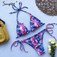 Simplee Halter floral print bikini micro Triangle sexy swimsuit female Push up swimwear women bathing suit biquini Summer 2019