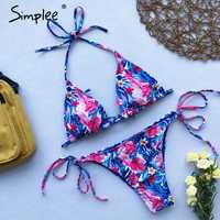 Simplee Halter floral print bikini micro Triangle sexy swimsuit female Push up swimwear women bathing suit biquini Summer 2019