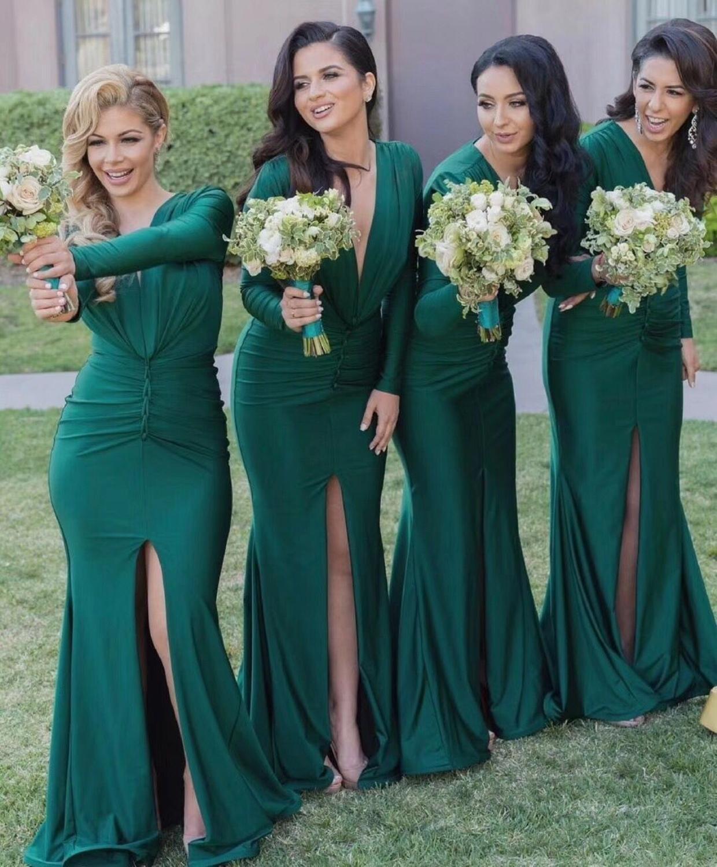 Elegant Long Sleeves   Bridesmaid     Dresses   Split Design Mermaid Floor Length Maid Of Honor   Dress   Long Prom Gown for Wedding Party