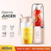 خلاطات عصير Deerma 400 مللي ماكينة منزلية لاسلكية أوتوماتيكية لتقطيع الفواكه والطعام خلاط ميلك شيك عصارة صغيرة متعددة الوظائف|الخلاطات|الأجهزة المنزلية -