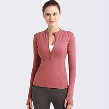 F. dyraa sexy mulher yoga superior esporte zíper camisola de yoga com buracos polegar sólido secagem rápida respirável ginásio fitness camisa hoodies