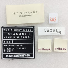 Very Cheaper Custom Organic Cotton Woven Label For Clothing Care Labels Cartoon Shoes Bags Washable Garment Tags