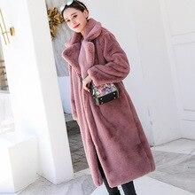 겨울 여성 고품질 가짜 토끼 모피 코트 럭셔리 긴 모피 코트 느슨한 옷깃 오버코트 두꺼운 따뜻한 플러스 사이즈 여성 플러시 코트