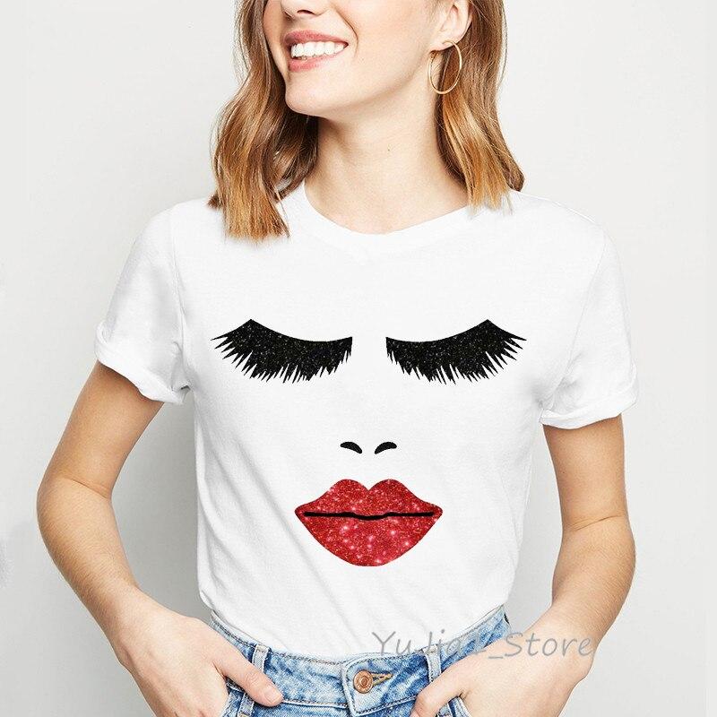 Lips Eyelash Makeup Tshirt Women Clothes 2019 Vogue Funny T Shirts Camiseta Mujer Haut Femme White Casual Female T-shirt Tops