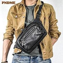 цена на PNDME fashion casual genuine leather men's chest bag luxury real cowhide designer shoulder messenger bag sports black waist pack