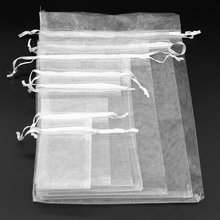 50pcs Christmas Gift Organza bags white 7x9 9x12 10x15 13x18cm Gift Bag Jewelry Packaging Favor Wedding Party Packaging Bags 6z