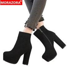 MORAZORA 2020 yeni en kaliteli faux süet çizmeler kadınlar yüksek topuklu platform yarım çizmeler kadınlar için fermuar sonbahar kış ayakkabı kadın