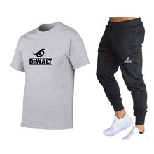 2021 New 2 Pieces T-shirt Print Sportswear Suit Men's Short Sleeve + Pullover Suit Sportswear Casual Sports Men's Clothing