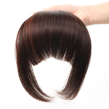 Soloowigs Natural Straight High Temperature Fiber Black/Light Brown/Dark Brown Women Clip-in Full Bangs with Fringe of Hair