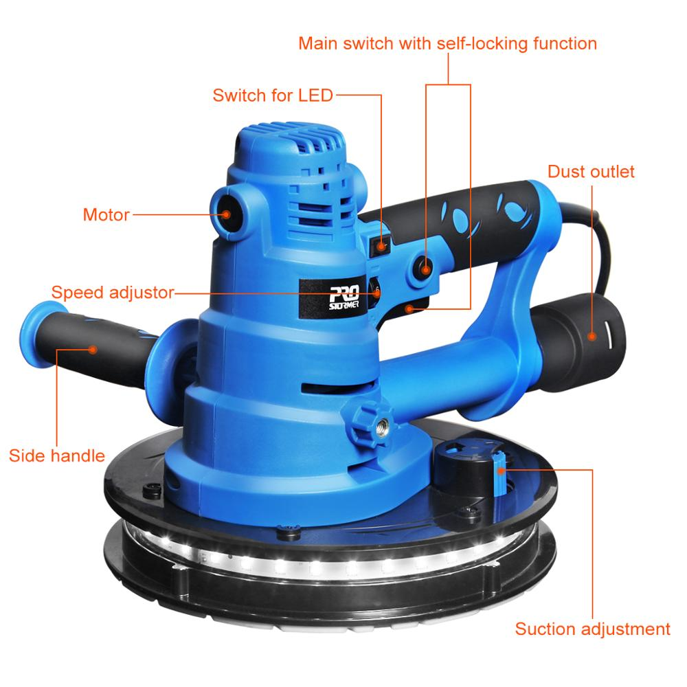 Image 4 - PROSTORMER Drywall Sander Wall Polishing Machine Grinding 230V 750W  Portable Led Light 610 2150/min Wall Putty Polisher Machine-in Polishers from Tools on